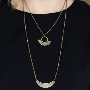 Brass layered necklace with earrings